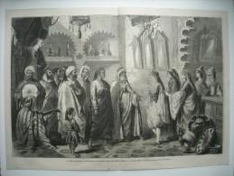 GRAVURE 1863. COUTUMES MAROCAINES. PRESENTATION D'UNE JEUNE FILLE A SON FIANCE, MOGADOR. - Prints & Engravings