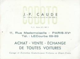 Carte Publicitaire - 11 Rue Mademoiselle à Paris 15ème - Codoto - Garagiste - FRANCO DE PORT - Werbung