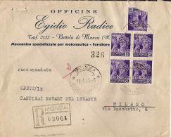 R.S.I. 5 X 50 C. MONUMENTI DISTRUTTI 1945 BETTOLA DI MONZA X MILANO RACC - Storia Postale