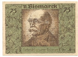ALLEMAGNE / GERMANY - V . BISMARK   KOLONIAL - 75 PFENNIG 1922 / SERIE B - [12] Colonie & Banche Straniere