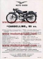 Moto Guzzi CARDELLINO 65 1956 Depliant Originale Genuine Brochure Prospekt - Moteurs