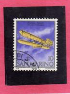 SAN MARINO 1978 POSTA AEREA AIR MAIL FRATELLI WRIGHT BROTHERS LIRE 10 USATO USED - Airmail