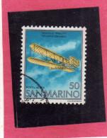SAN MARINO 1978 POSTA AEREA AIR MAIL FRATELLI WRIGHT BROTHERS LIRE 50 USATO USED - Airmail