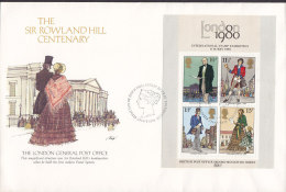 Great Britain FDC Cover 1979 The Sir Rowland Hill Centenary Block 2. Miniature Sheet - 1971-1980 Dezimalausgaben