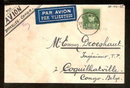 Brief Met Nr. 323 Verzonden Van GENT Naar COQUILHATVILLE (BELGISCH CONGO) Dd. 10/7/1935 ! Inzet Aan 25 € ! - 1931-1934 Mütze (Képi)