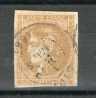 """N° 43B_bistre-brunreport II_N)14 De La Planche_CaD """"LYON""""(éclaté??)_cote 175.00 - 1871-1875 Cérès"""