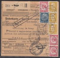 DR Paketkarte Mif Minr.3x 437,514,3x 555 Hegge 14.2.35 Gel. In Schweiz - Briefe U. Dokumente