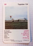 TUPOLEW 134  - AEROFLOT Air Force, Air Lines, Airlines, Plane Avio SSSR (USSR RUSSIA) Soviet Airlines & DDR - Playing Cards