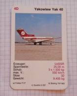 YAKOWLEW Yak 40  - GENERAL Air Force DDR, Air Lines, Airlines, Plane Avio SSSR (USSR RUSSIA) Soviet Airlines - Playing Cards