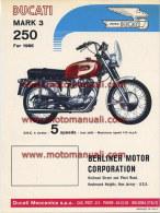 Ducati 250 MARK 3 1966 Depliant Originale Factory Original Brochure - Engines