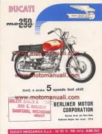 Ducati 250 MONZA 5V 1965 Depliant Originale Factory Original Brochure - Motores