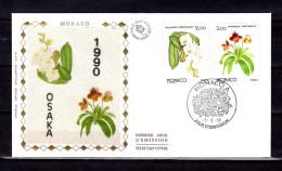 """MONACO FDC En Soie De 1990 """" OSAKA 90 : ORCHIDEES PRINCESSE GRACE / PRINCE RAINIER III """" N° YT 1710 1711. Parfait état. - Orchidées"""