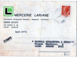 CARTOLINA POSTALE PUBBLICITARIA-LECCO-MERCERIE LARIANE-27-4-1981-SPEDITA AD AROSIO - 6. 1946-.. Repubblica