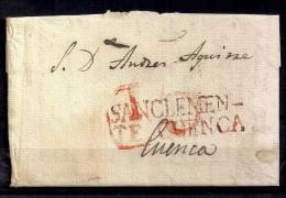 """1834 CARTA  PREFILATÉLICA CIRCULADA A CUENCA, MARCA """" SAN CLEMENTE / CUENCA """" EN COLOR ROJO - ...-1850 Voorfilatelie"""