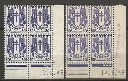 TYPE CHAINES BRISEES N � 673 / 2 NUANCES  6/1/ ET/  12/1/1945 NEUF** TTB