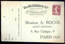 Cpa Publicitaire Maison D.EW. Gibbs Ltd  Mr Roche Agent Régional Paris 12ème      AO4 - Publicité