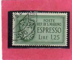 SAN MARINO 1943 ESPRESSI STEMMA SPECIAL DELIVERY COAT OF ARMS ESPRESSO LIRE 1,25 USATA USED - Eilpost