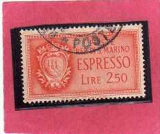 SAN MARINO 1943 ESPRESSI STEMMA SPECIAL DELIVERY COAT OF ARMS ESPRESSO LIRE 2,50  USATA USED - Eilpost