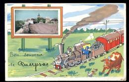 Cpa Du 19 Bon Souvenir De Queyssac  Train    AO2 - Non Classés