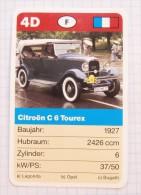 CITROEN C 6 Tourex 1927 France - old car, oldtimer,  Voitures Anciennes  / SuperTrumf, playing card