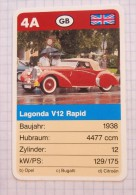 LAGONDA V12 Rapid  1938 - old car, oldtimer,  Voitures Anciennes GB Aston Martin  / SuperTrumf, playing card