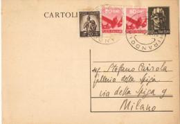 J546) ITALIA CARTOLINA POSTALE TURRITA 1.20 LIRE DEL 1945 VIAGGIATA IL 14.12.1946 - Postwaardestukken