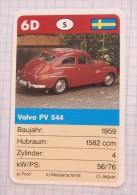 VOLVO PV 544  1959  - old car, oldtimer,  Voitures Anciennes Sweden / SuperTrumf, playing card