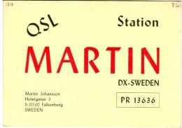 Very Old QSL Card From Martin Johansson, Hotelgatan, Falkenberg, Sweden (PR 13636) - Year 1970 - CB