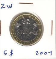 5 Dollars Zimbabwe Bi-métallic / Bimetalic 2001 - Zimbabwe