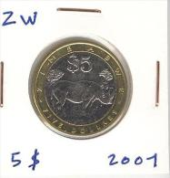 5 Dollars Zimbabwé Bi-métallic / Bimetalic 2001 - Zimbabwe