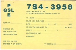 Very Old QSL Card From Olle Carlsson, Idkerberget, Sweden (7S4-3958) - Year 1968 - CB