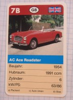 AC Ace Roadster 1954 - Old Car, Oldtimer,  Voitures Anciennes GB  / SuperTrumf, Playing Card - Cars