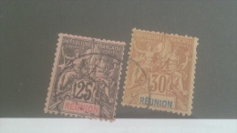 LOT 227786 TIMBRE DE COLONIE REUNION OBLITERE N�39/40 VALEUR 17 EUROS