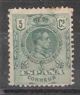 ESPANA, 1909, Yvert N° 243, 5 C Vert, Alfonso XIII, , Neuf *, - 1889-1931 Reino: Alfonso XIII