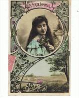 CPA-FANTAISIE-1906-ENFANT S-FILLES-1 PETITE FILLE TRISTE DANS UN CADRE ROND-1PAYSAGE- - Portretten