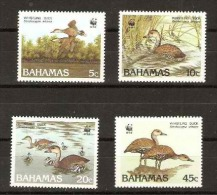 Bahamas  - 1988 Whistling ducks (WWF) set of 4 MNH **   SG 824-7  Sc 645-8