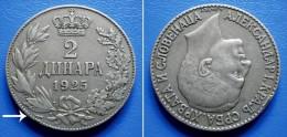 YUGOSLAVIA  KINGDOM OF SHS - 2 Dinara 1925p - WITH LIGHTNING BOLT - Jugoslawien