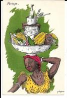 Humour Colonial Signé P.Huguet. Portage. Plateau, Moulin à Café, Bananes, Ananas, Ustensiles De Cuisine. - Huguet