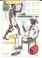 Humour Colonial Signé P.Huguet. Contraste. Livre, Fume-cigarette. - Huguet