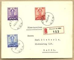 Lettre Recommandée 6.3.1937 Bale Affr Avec Série W2 à W4 - Storia Postale