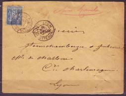 DAGUIN  2 BD   De LYON  LES BROTTEAUX   Le 24 Aout 1887 SAGE 15c Bleu Pour LYON - 1876-1898 Sage (Type II)