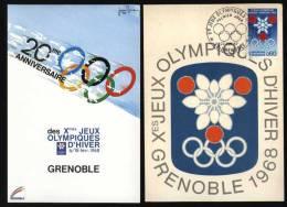 1 CARTOLINA MAXIMUM + 1 FDC DEI GIOCHI OLIMPICI INVERNALI DI GRENOBLE 1968 - Inverno1968: Grenoble