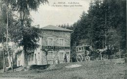 N°39668 -cpa Poule -café Dupuis à La Scierie-  Attelage Omnibus Ligne Beaulieu-Chauffailles- - Cafés