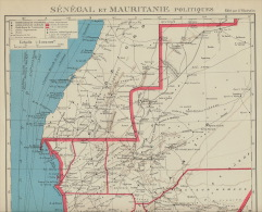 Carte Geographique Mauritanie Senegal Politique Années 30 - Mauritanie