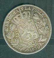 Belgique 5 Francs Argent Léopold II Année 1870   Pieb6109 - 09. 5 Francs