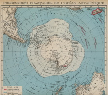Carte Geographique Antarctique Pole Sud Kerguelen Crozet Amsterdam St Paul Polar Map Années 30 - Non Classés