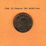 CHILE   20 CENTAVOS  1951  (KM # 177) - Chile
