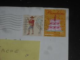 LETTRE PORTUGAL AVEC YT 2048 ET 2493 - COLPORTEUR GATEAU ANNIVERSAIRE BOUGIE - - Covers & Documents