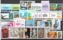 ISLANDE: Collection De 33 Valeurs: 1971/1974:service Des Chèques,paysage,EUROPA,1er Timbre Island.anniversaire Du Peuple - Islande