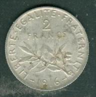 france 2 francs  semeuse argent ann�e 1916 - pieb6302
